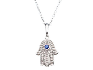 Lucky Hamsa Necklace with Diamonds