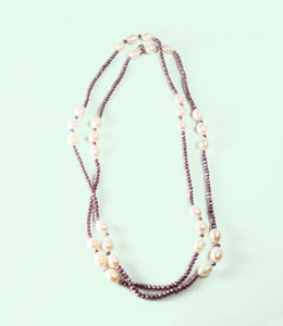 Long Lavender Baroque Pearl Necklace