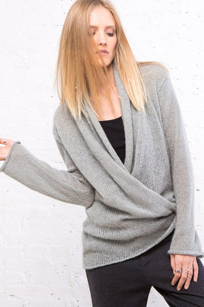 Gray Wrap Cardigan