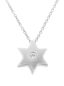 White Gold Star Necklace with Single Diamond
