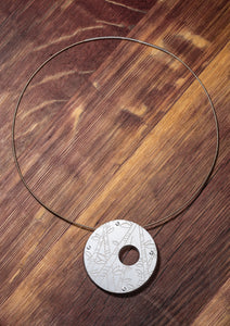 "Steel Choker Necklace with Etched ""Bamboo"" Pendant"