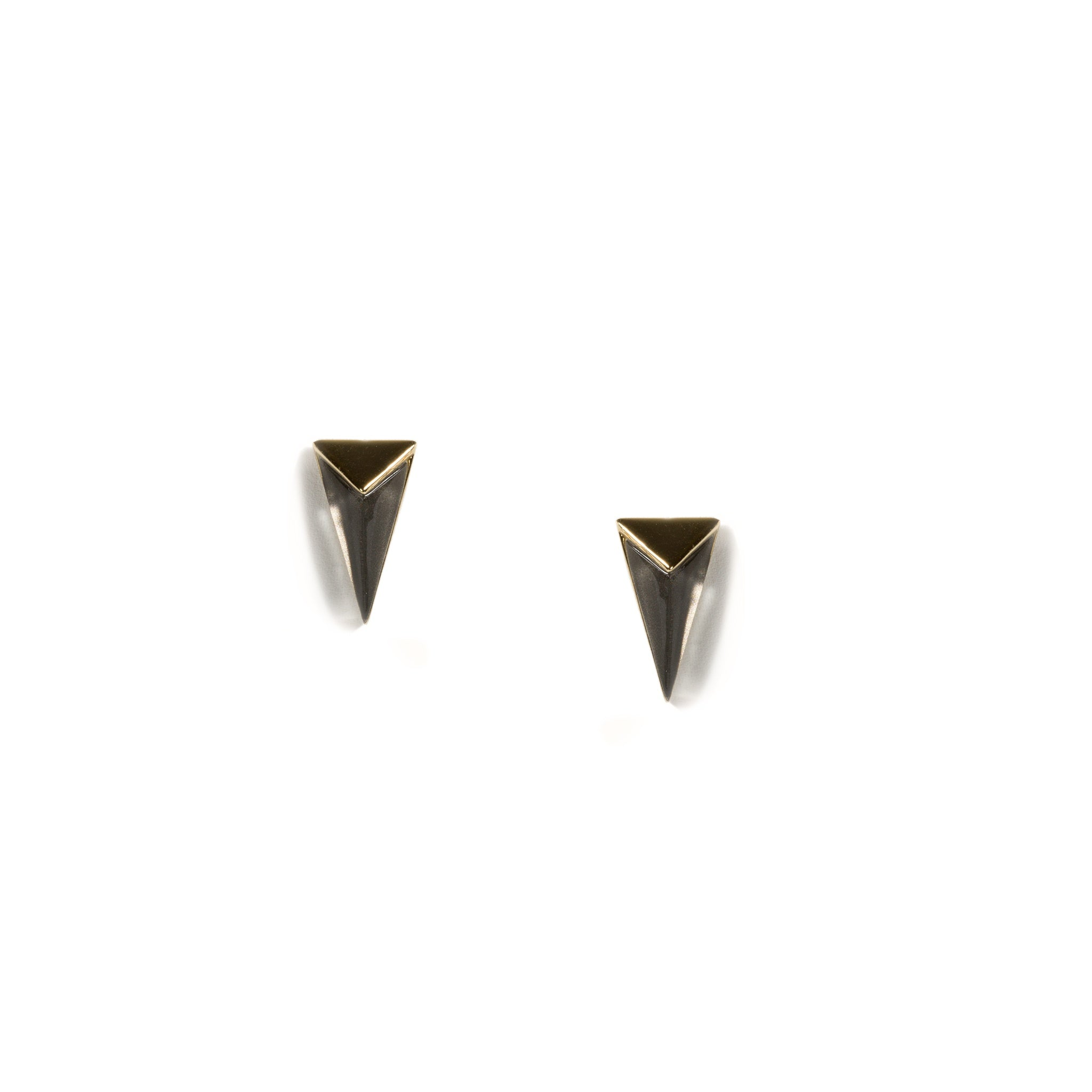 Faceted Smokey Ash Lucite Pyramid Post Stud Earrings