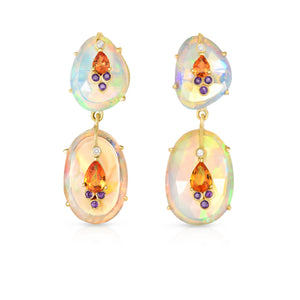 Double Drop Ethiopian Opal Earrings