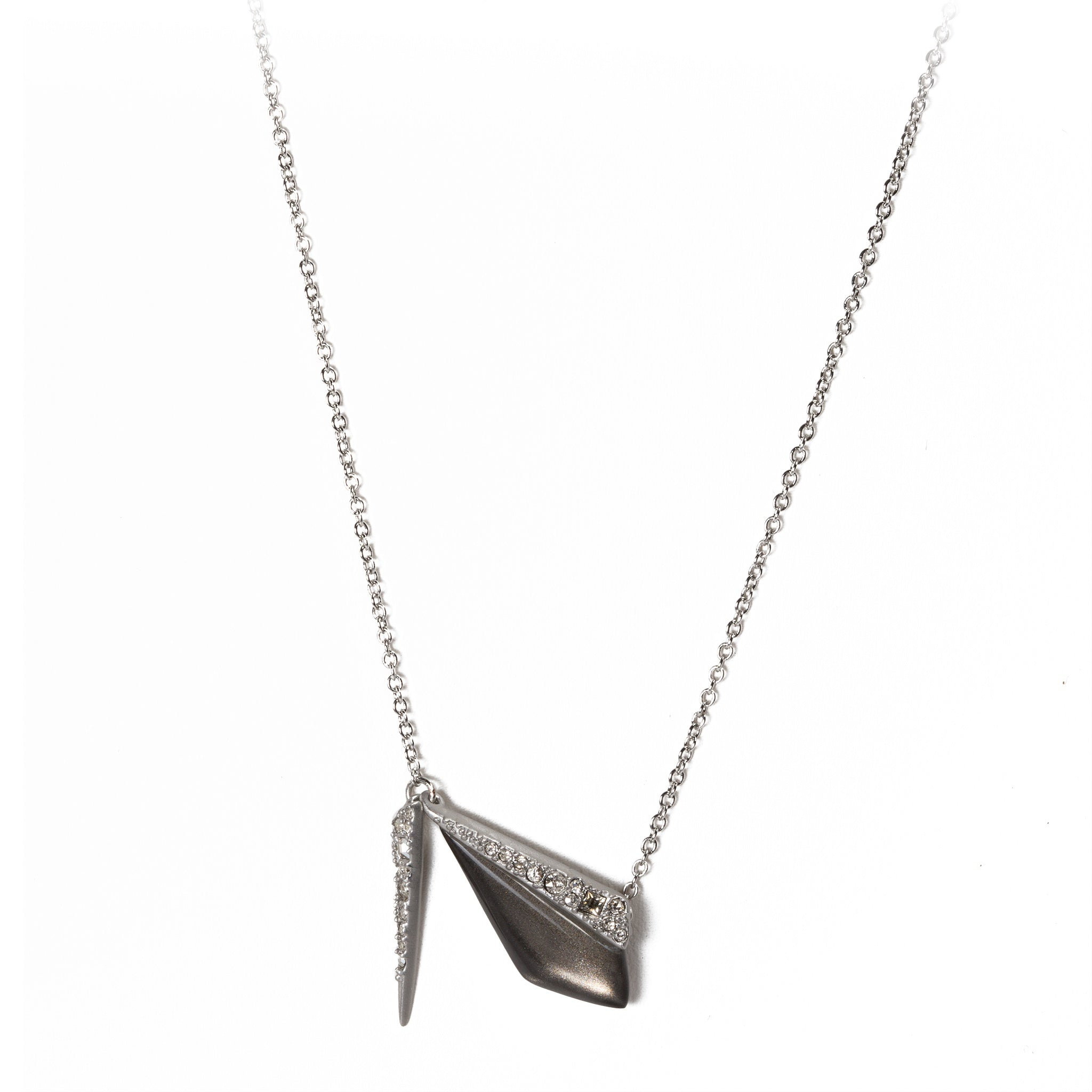 Pave-Encrusted Grey Pendant Necklace