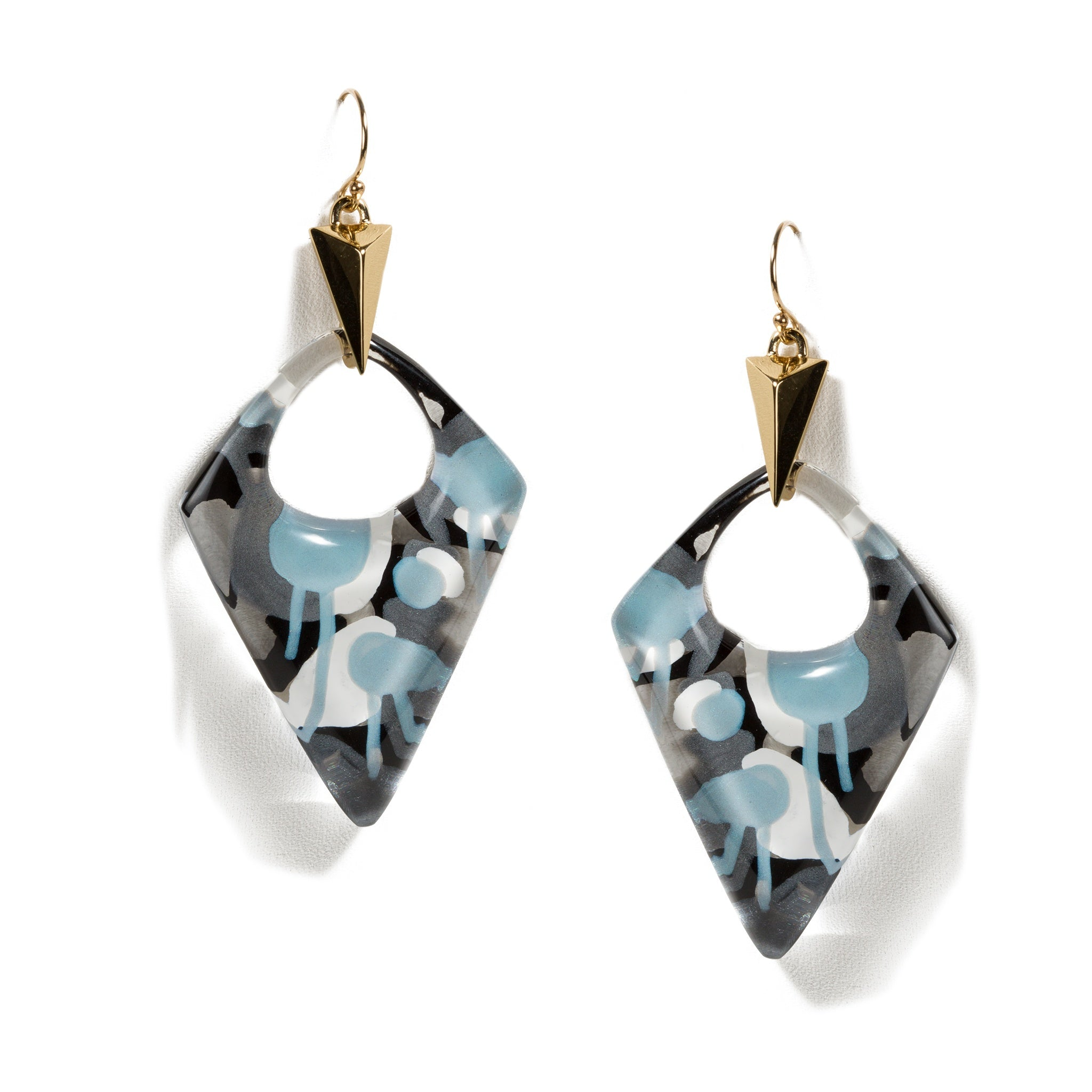 Invereted Abstract Poppy Pointed Pyramid Drop Earrings