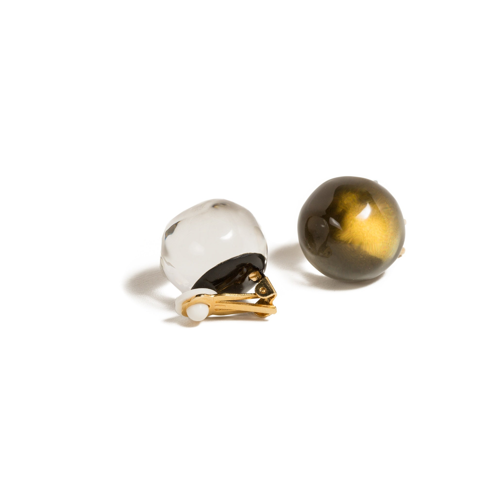Gold Watery Sphere Button Clip-On Earrings
