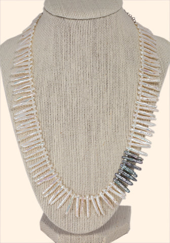 White & Black Freshwater Pearl Sticks Necklace