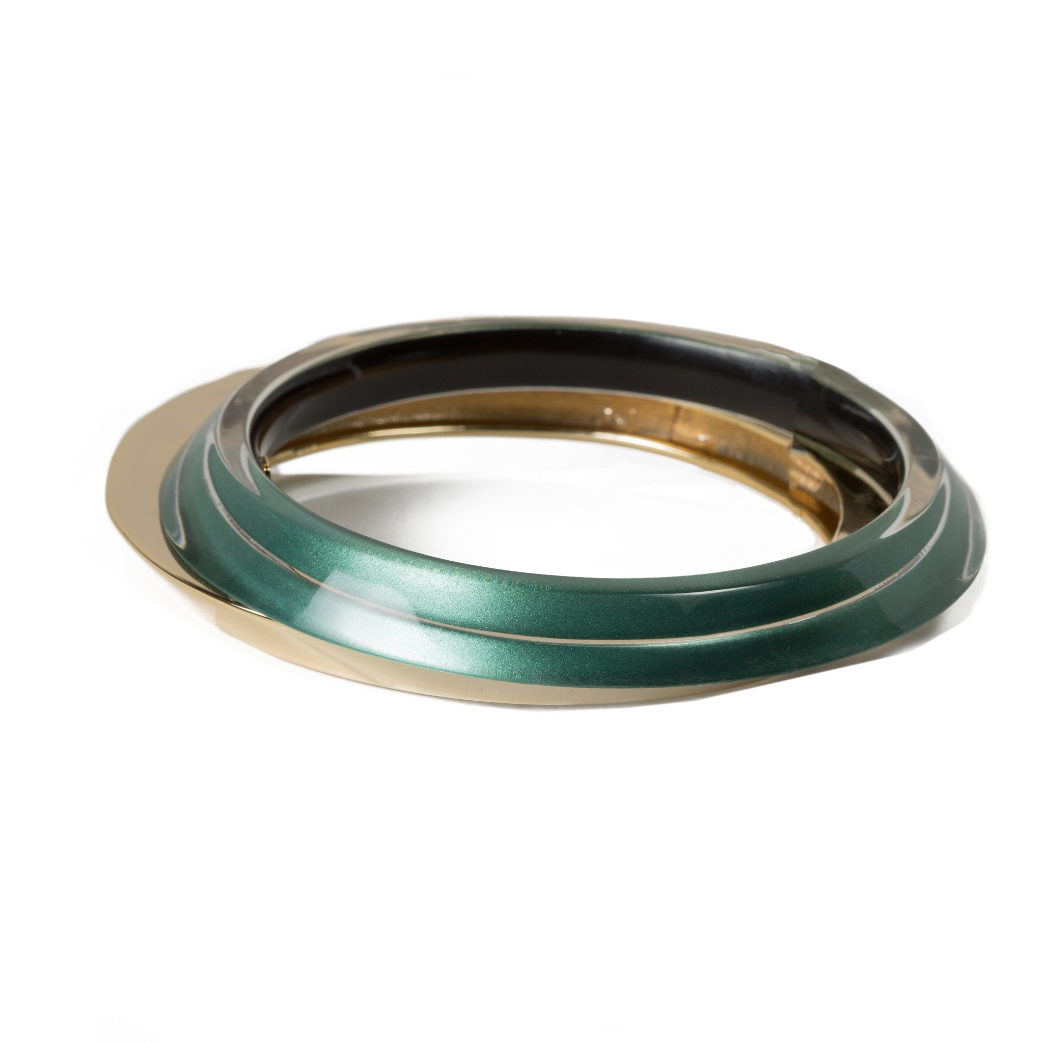 Angled Set Metallic Teal Bangle Bracelet