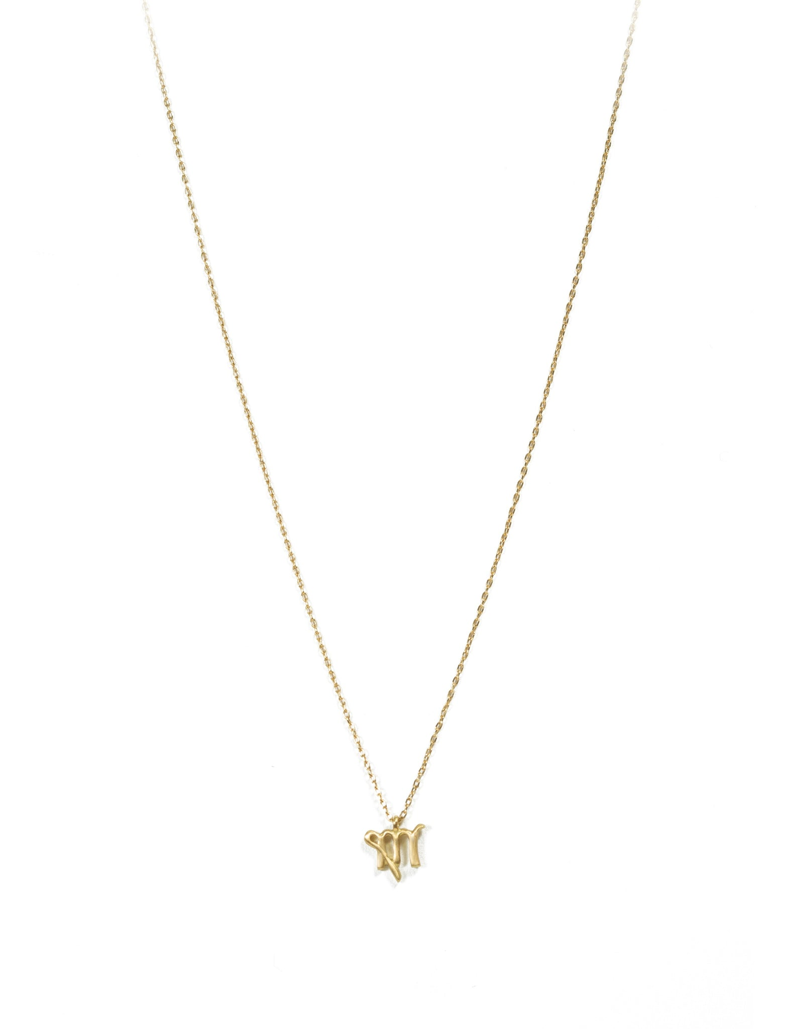 18K Gold Necklace With Virgo Zodiac Symbol