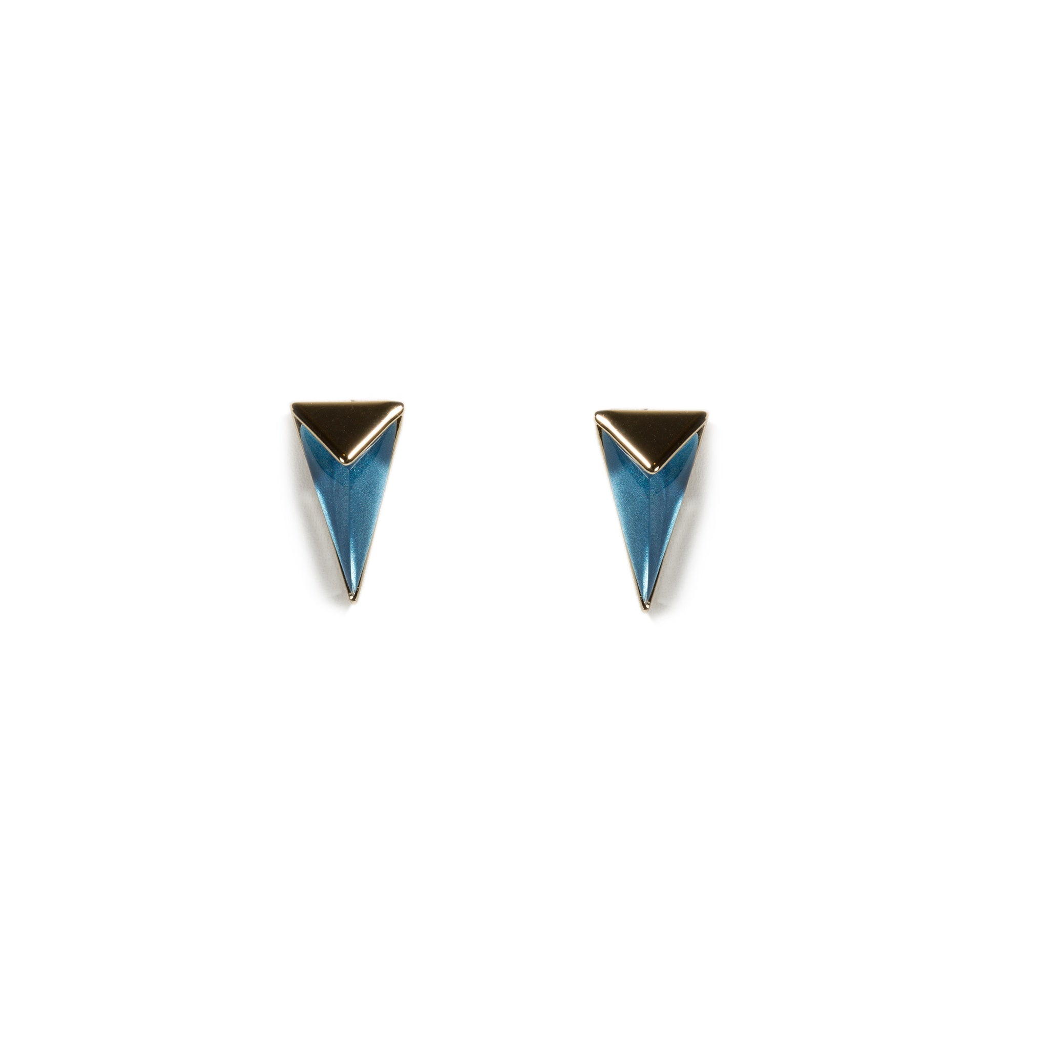 Faceted Blue Lucite Pyramid Post Stud Earrings