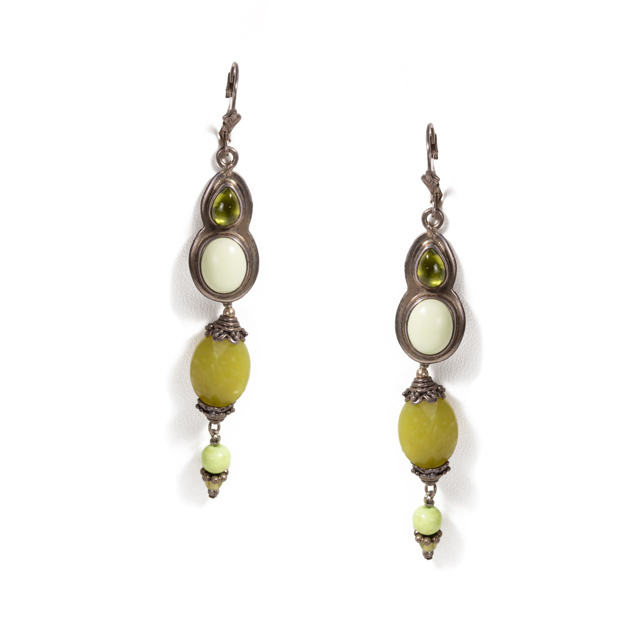 Vesuvianite Lemon Chrysoprase, Olive Jade and Sterling Silver Earrings