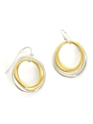 double circle. silver & vermeil earrings