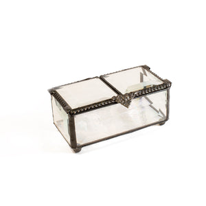 Clear Beveled Glass Box with Double Hinged Lid