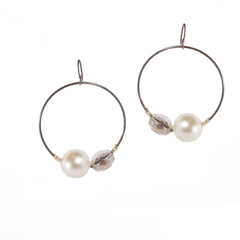Hoop Earrings With Crystals and Pearls