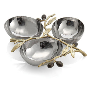 Olive Branch Gold Triple Compartment