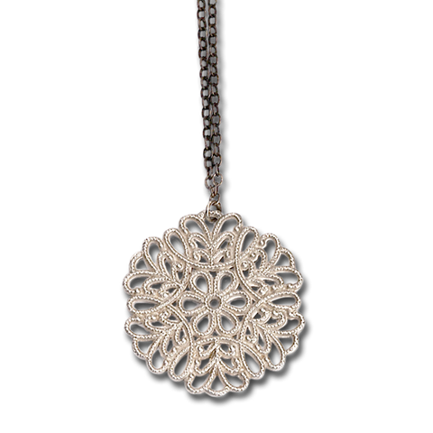Snowflake Small Silver Pendant Necklace