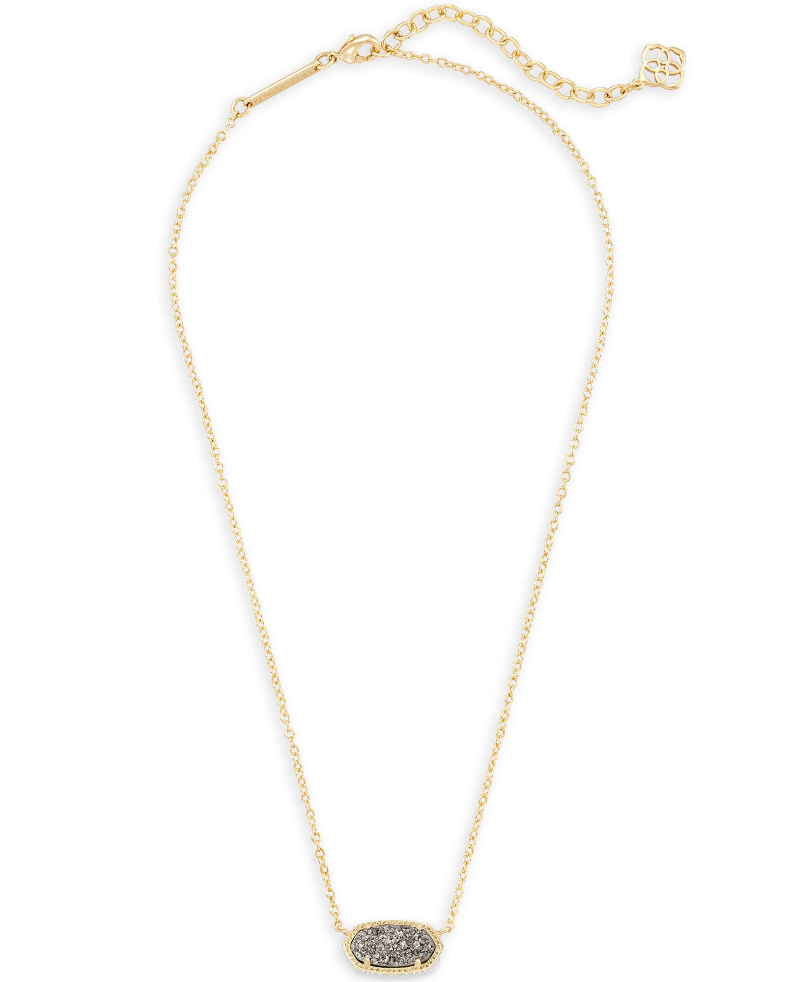 Elisa Gold Pendant Necklace In Platinum Drusy