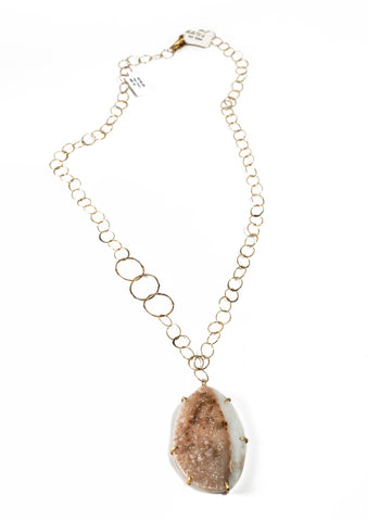 Oval Natural Druzy Gold  Necklace