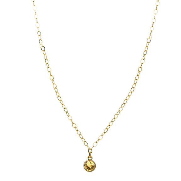 Tiny Disk Amulet Necklace in Gold