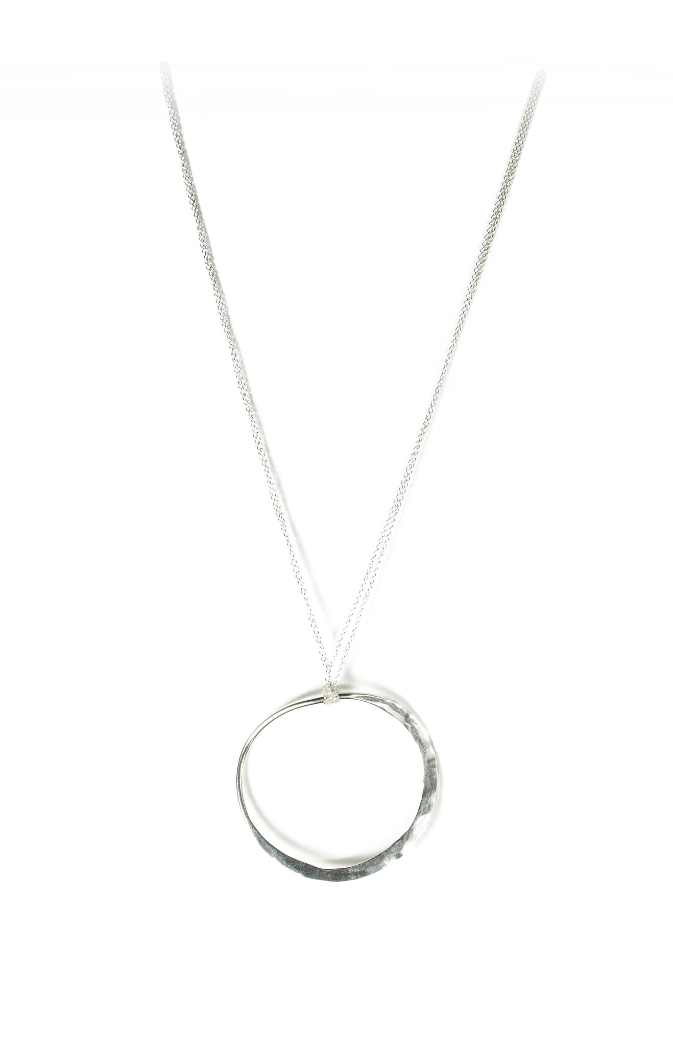 Open Circle Medallion Necklace in Silver (Brass)