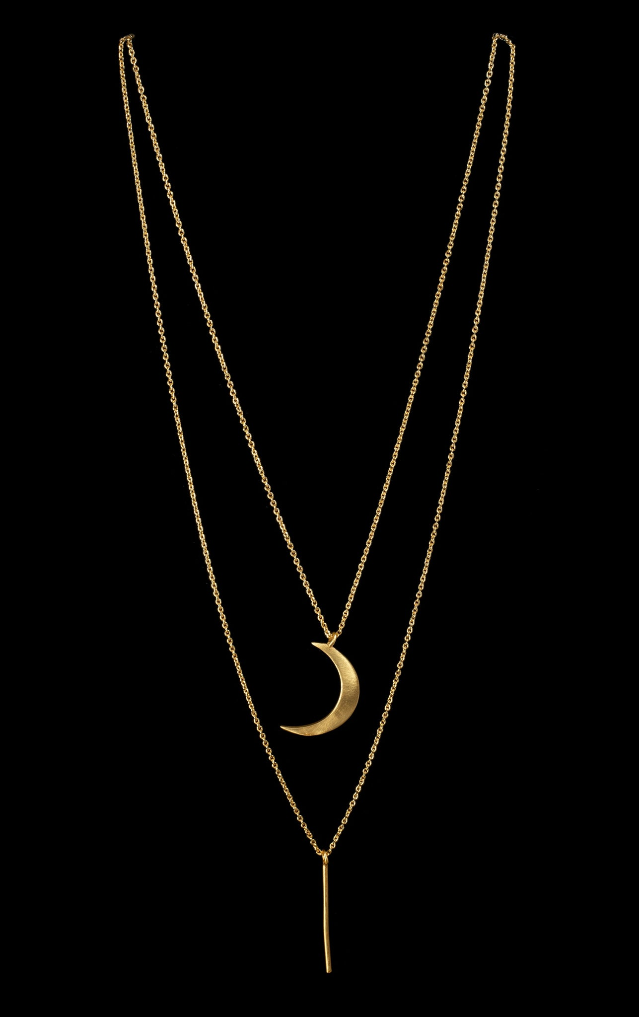 Double Layered Moon Necklace