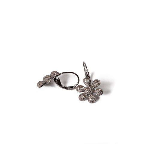 Diamond Flower Clip-On Earrings