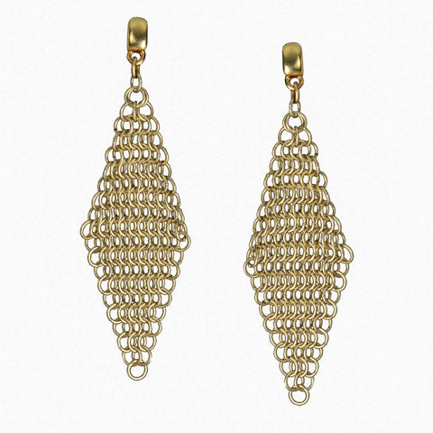 Antique Gold Ferrara Mesh Post-Style Earrings