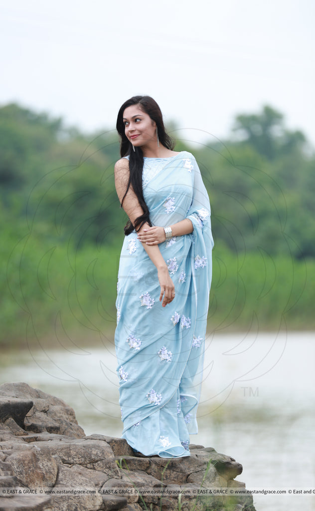 Powder Blue Saree