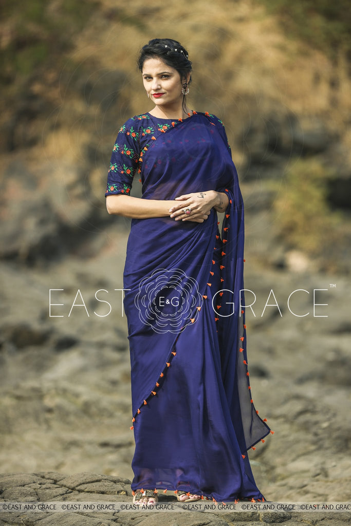 Blue Flame Saree