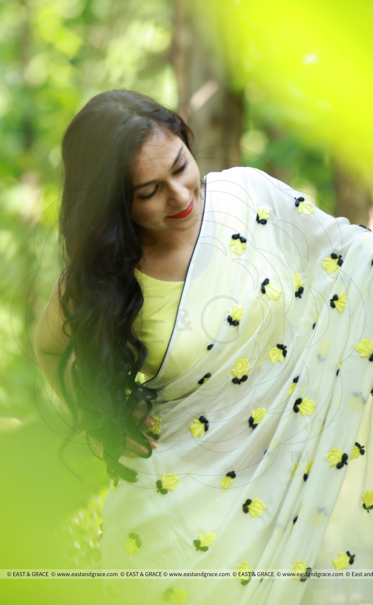Yellow Crocus on White Pure Silk Chiffon Saree