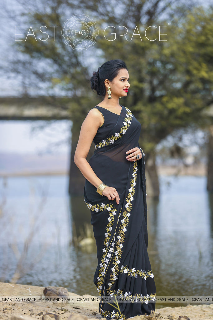 Black Buttercup pure Georgette hand embroidered saree