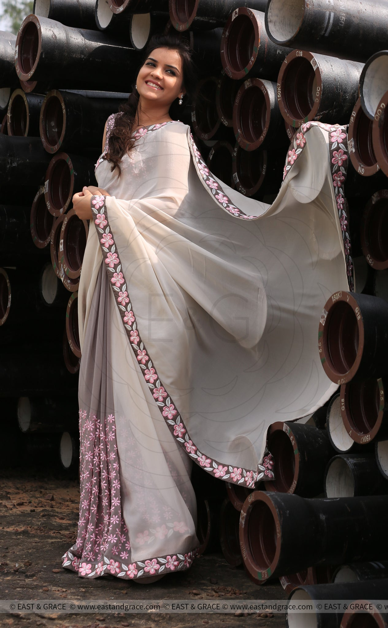 Gray Pure Georgette Saree with Frangipani Floral Embroidery