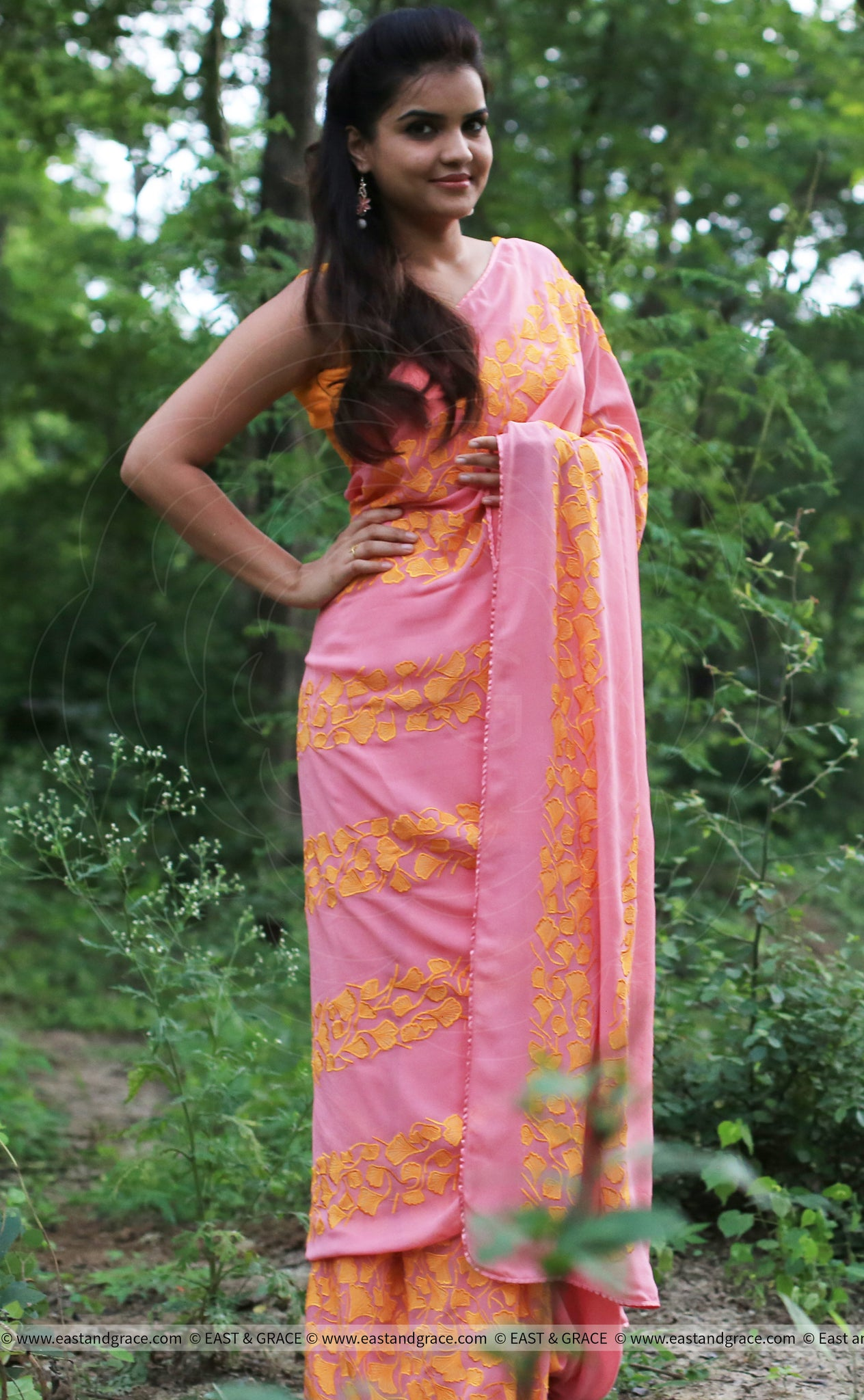 Coral Pure Georgette Saree with Gingko Leaf Embroidery