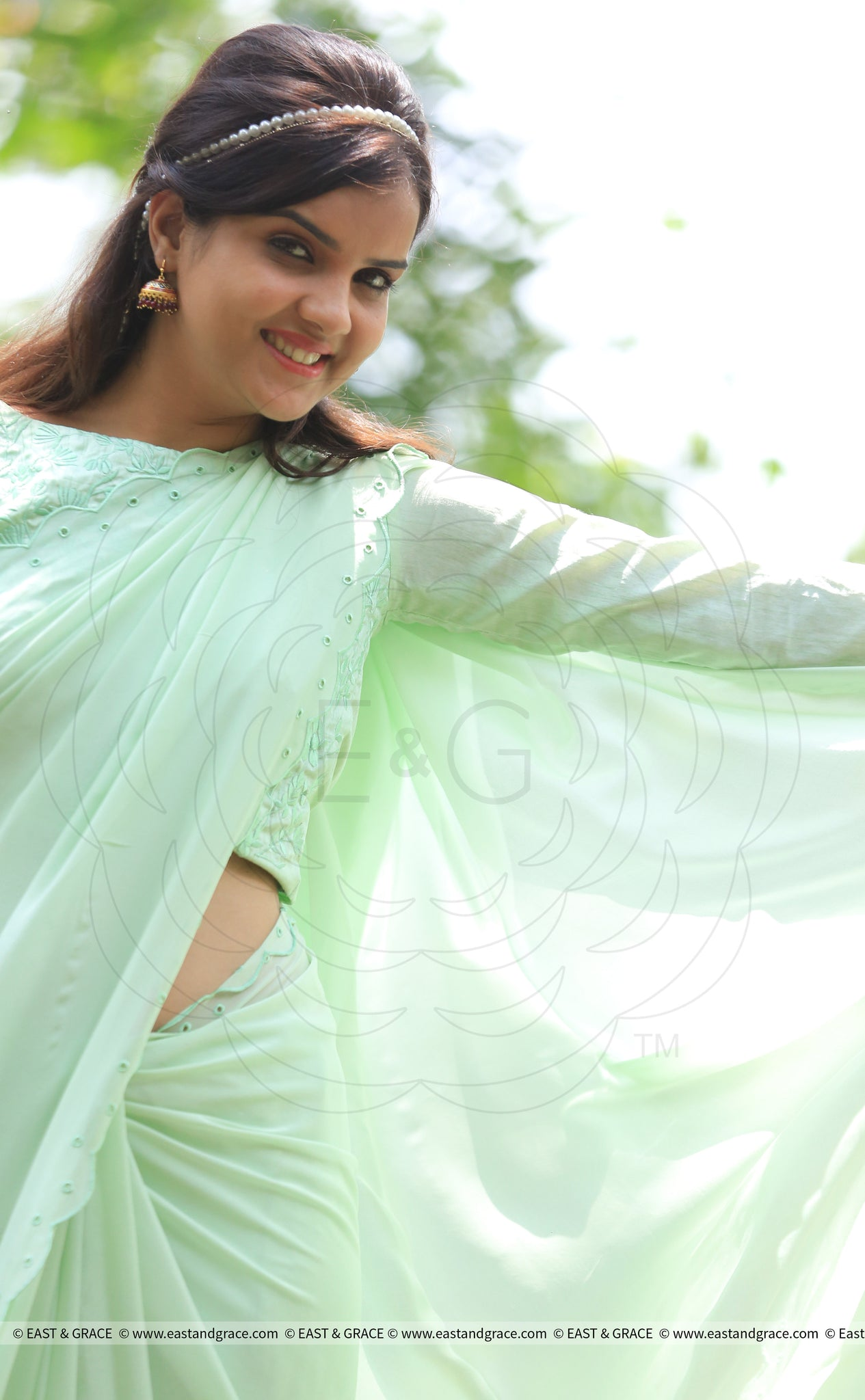 Pista Pure Chiffon Saree with Eyelet Pattern Border Embroidery
