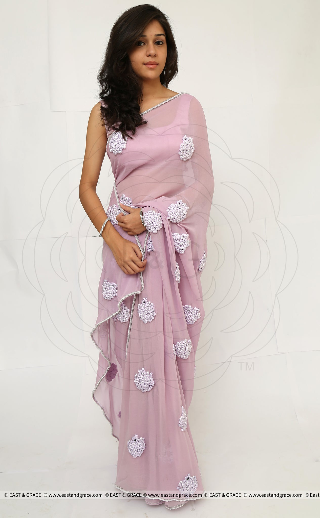 Lilac Pure Silk Georgette Ribbon-Work Saree