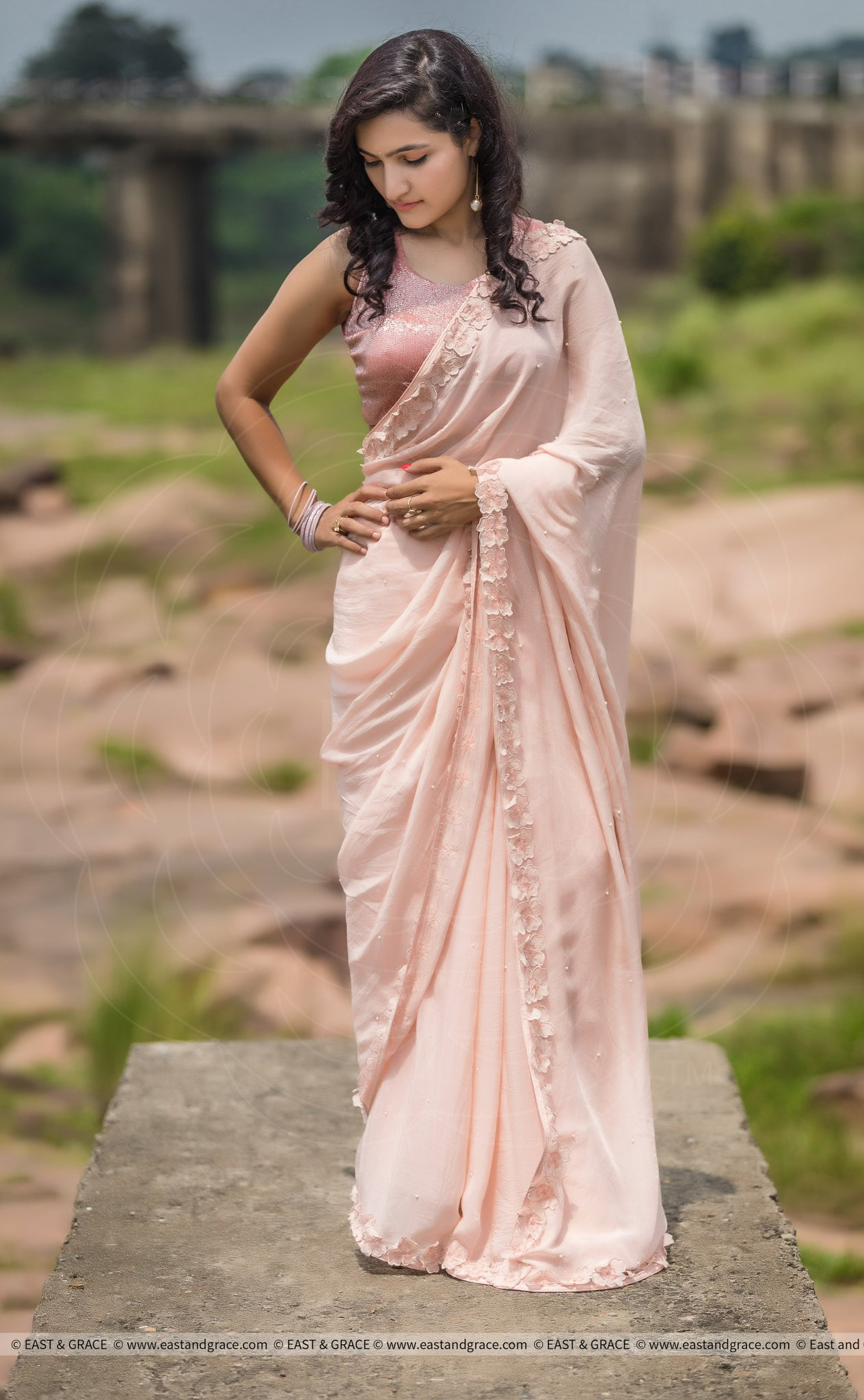 Rose Dust Pure Silk-Chiffon Saree with Raw-Silk Cutdana Embroidered Blouse