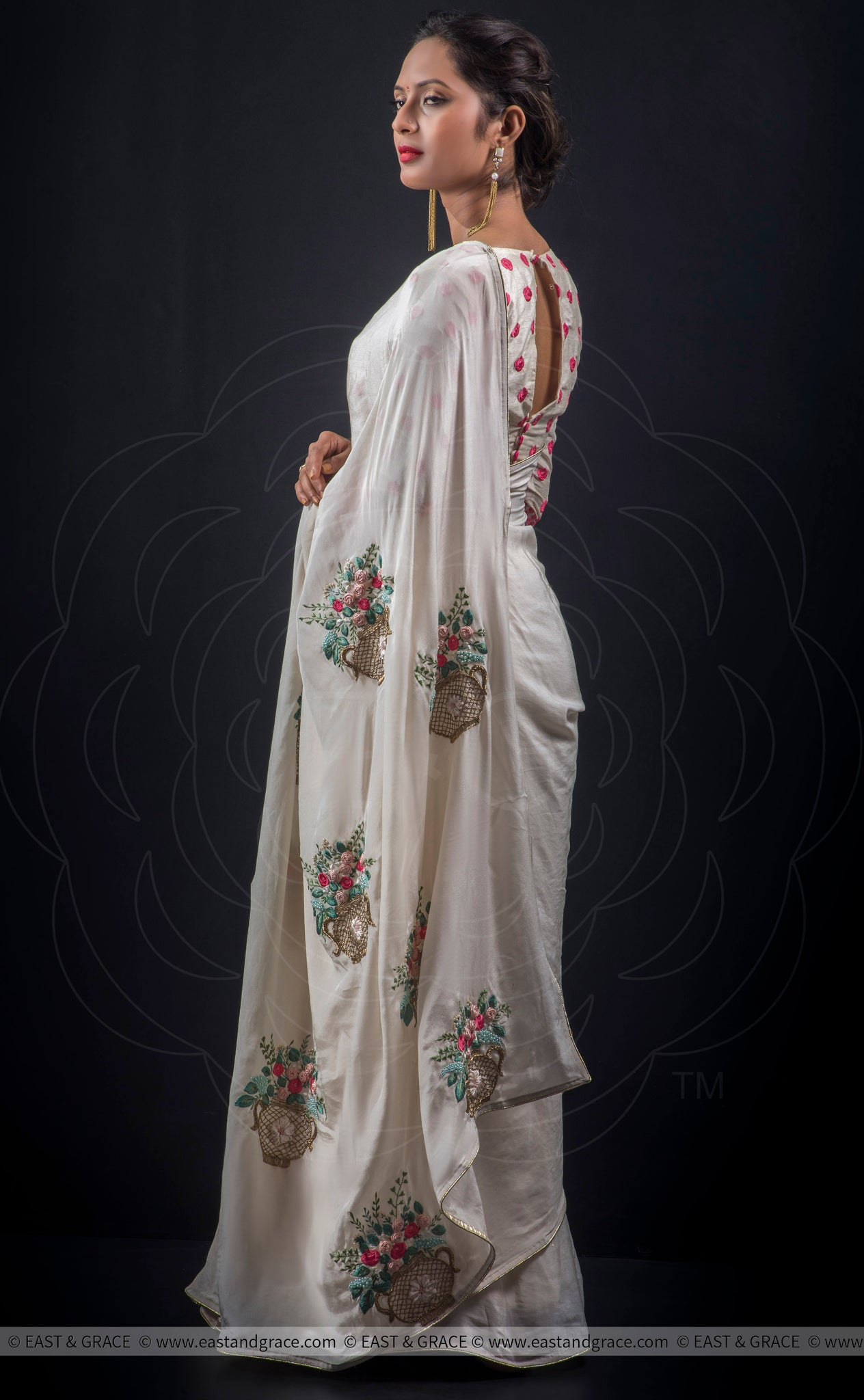 Asawari Pure Silk-Crepe Hand Embroidered Saree