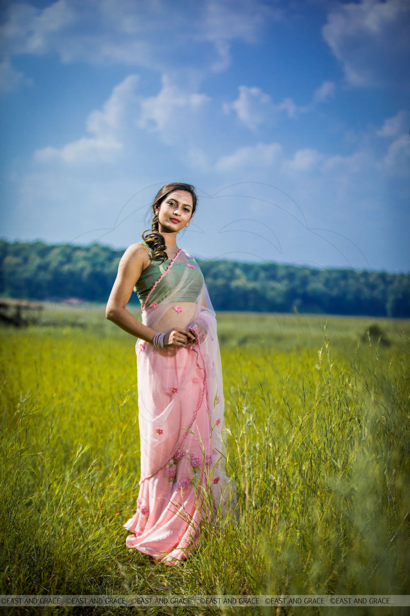 Angela Floss Pink Pure Silk-Crepe & Net Hand-Embroidered Ribbon Work Saree