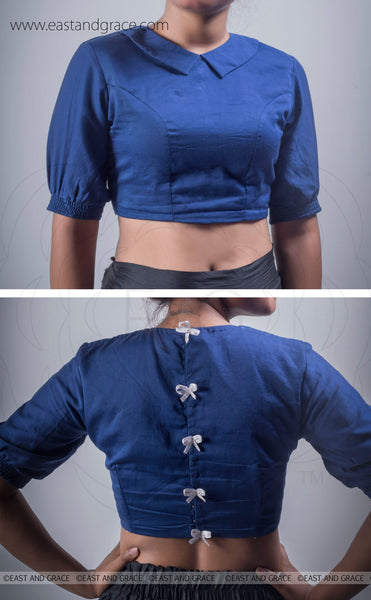 Ink Stain Blue Cotton-Satin Blouse With Bows