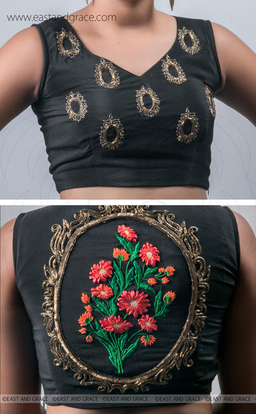 Black Silk-Crepe Blouse With Hand Embroidered Flower and Victorian Art Motif