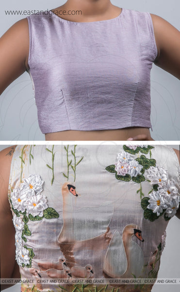 Light Lavender Raw-Silk Blouse With Hand Embroidered Ribbon Work Swan Motif