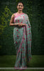 Shruti Pure Silk-Georgette Floral Printed and Pearl Embroidered Saree