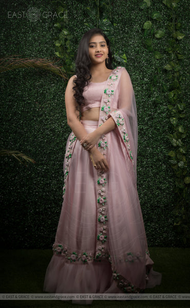 Nandini Baby Pink Raw-Silk Hand-Embroidered Ribbon Work Lehenga