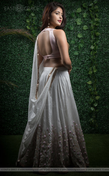 Lalita Off-White Raw-Silk Hand-Embroidered Ribbon Work and Sequins Lehenga
