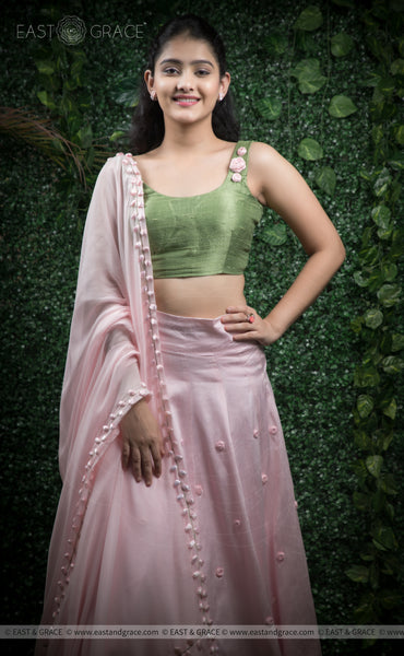Anuradha Pink & Green Raw-Silk Hand-Embroidered Ribbonwork Lehenga