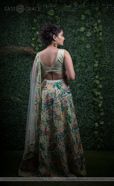 Indulekha Pista Raw-Silk Ribbonwork Hand-Embroidered Lehenga
