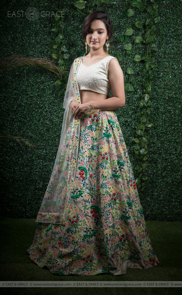 Sudevi Cream Raw-Silk Ribbonwork Hand-Embroidered Lehenga