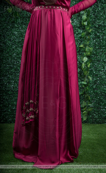 Aunjala Satin Handcrafted and Embroidered Maroon Dress