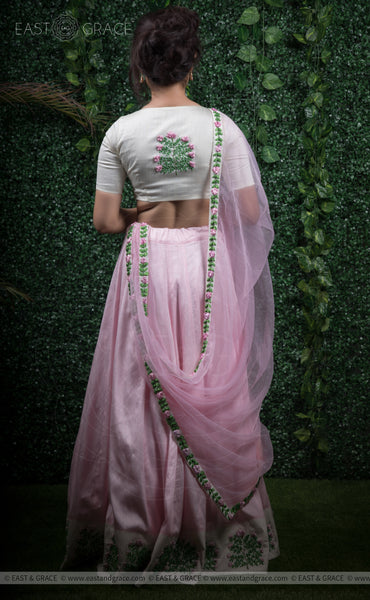 Punarnava Baby Pink Raw-Silk Ribbonwork Hand-Embroidered Lehenga