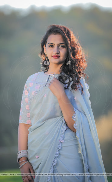 Flower's Breath Gray Sky Pure Silk-Chiffon Embroidered Saree